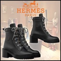 HERMES Square Toe Plain Toe Mountain Boots Casual Style
