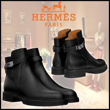 HERMES Plain Toe Mountain Boots Blended Fabrics Street Style Plain