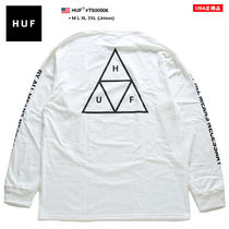 HUF Crew Neck Pullovers Unisex Street Style Long Sleeves Cotton