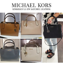 Michael Kors 2WAY Plain Leather Office Style Elegant Style Formal Style
