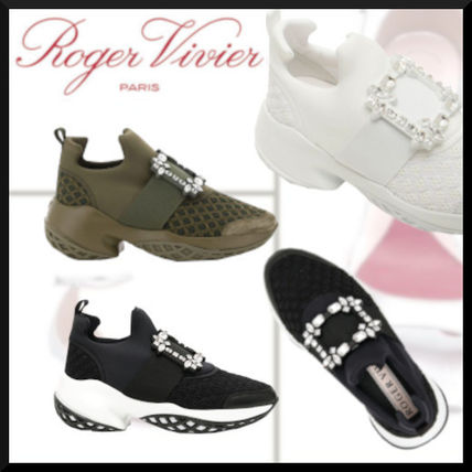 Casual Style Studded Street Style Plain Low-Top Sneakers