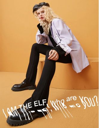 ELF SACK Casual Style Street Style Plain Long Slit Pants Skinny Pants