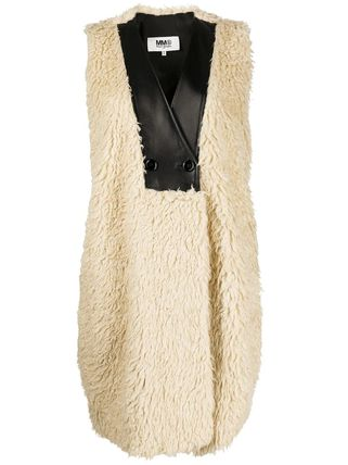 Casual Style Plain Leather Medium Fur Vests Office Style