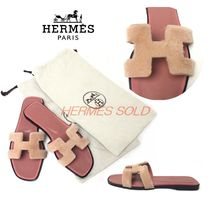 HERMES Round Toe Plain Leather Party Style Elegant Style Shearling