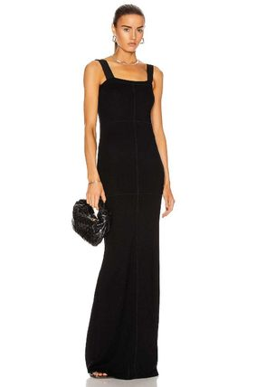 Tight Maxi Blended Fabrics Sleeveless Plain Long Party Style