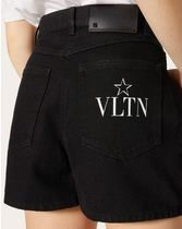 VALENTINO Short Casual Style Street Style Plain Cotton Logo