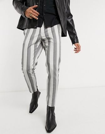Tapered Pants Printed Pants Stripes Blended Fabrics