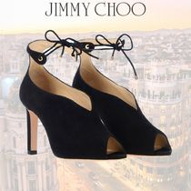 Jimmy Choo Open Toe Suede Plain Leather Office Style Elegant Style
