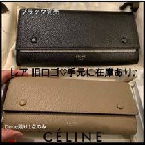 CELINE Flap Calfskin Leather Logo Long Wallets