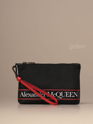 Unisex Canvas Plain Logo Clutches