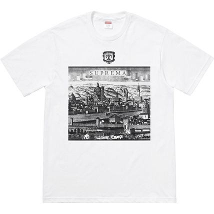 Supreme Logo Crew Neck Unisex Short Sleeves Street Style