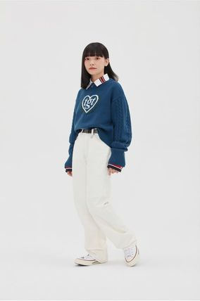 ROMANTIC CROWN Street Style Collaboration Long Logo Jeans