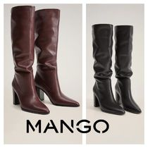 MANGO Rubber Sole Leather Block Heels High Heel Boots