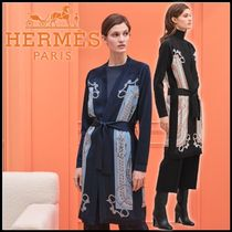 HERMES Lace-up Casual Style Silk Street Style Long Sleeves Long