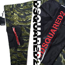 D SQUARED2 Camouflage Cotton Logo Cropped Pants