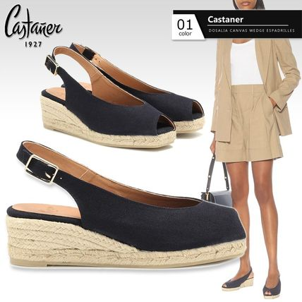 Open Toe Square Toe Platform Casual Style Plain