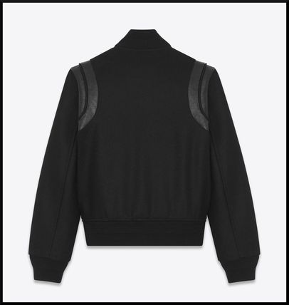 Saint Laurent Casual Style Wool Plain Leather Medium Varsity Jackets