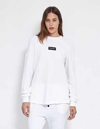 Crew Neck Street Style Long Sleeves Plain Cotton Logo