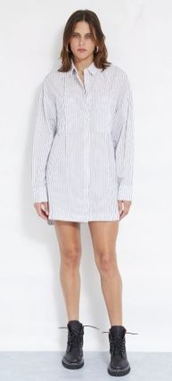 Short Stripes Casual Style Street Style Long Sleeves Cotton