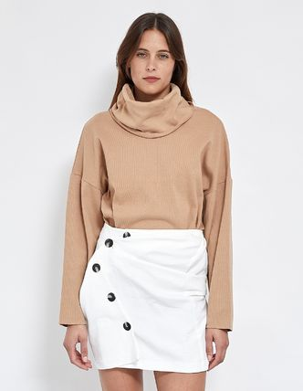 Long Sleeves Plain Cotton High-Neck Office Style Oversized