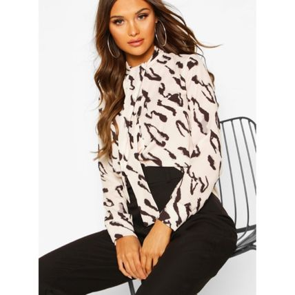 Leopard Patterns Casual Style Long Sleeves Elegant Style