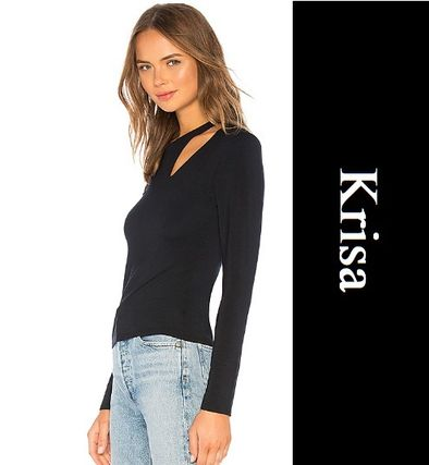 Casual Style V-Neck Long Sleeves Plain Cotton Medium