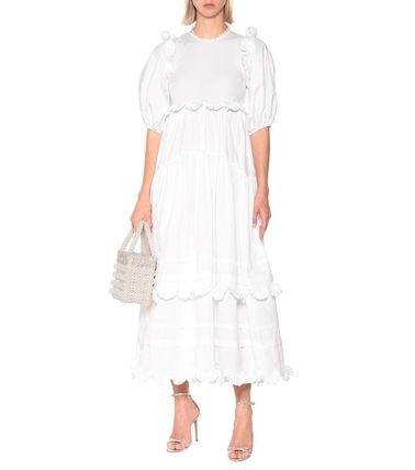 CECILIE BAHNSEN Plain Cotton Long Puff Sleeves Tired Dresses