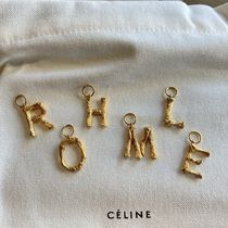 CELINE Costume Jewelry Casual Style Initial Brass