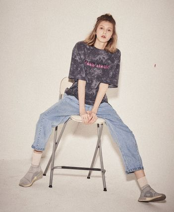 Unisex Tie-dye U-Neck Cotton Long Short Sleeves Logo