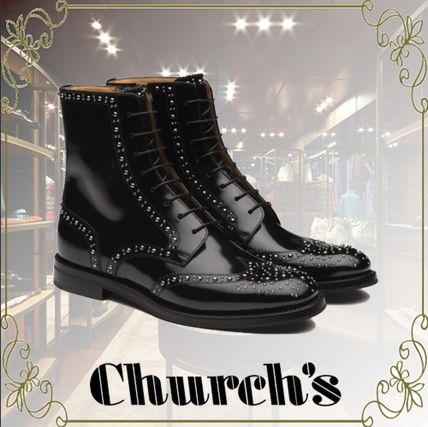 Round Toe Rubber Sole Casual Style Studded Leather Logo