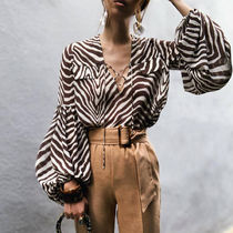 Zebra Patterns Lace-up Casual Style Chiffon Long Sleeves