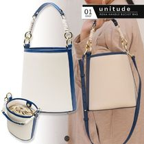 Unitude Casual Style 2WAY Plain Leather Party Style Purses