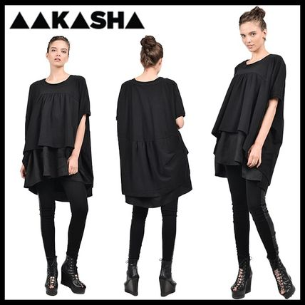 Aakasha Crew Neck Plain Cotton Medium Short Sleeves Co-ord Tunics