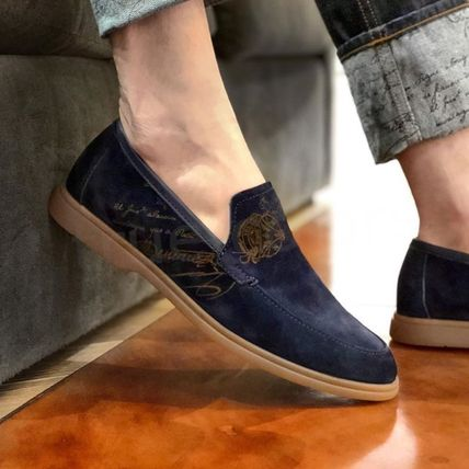 Berluti Loafers Suede Plain U Tips Logo Loafers & Slip-ons