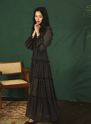 Crew Neck Wrap Dresses Dots Casual Style Maxi Chiffon