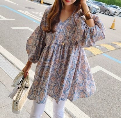 Paisley Casual Style V-Neck Long Short Sleeves Oversized