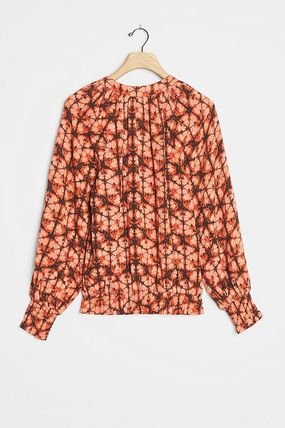 Flower Patterns Casual Style Tie-dye Long Sleeves Cotton
