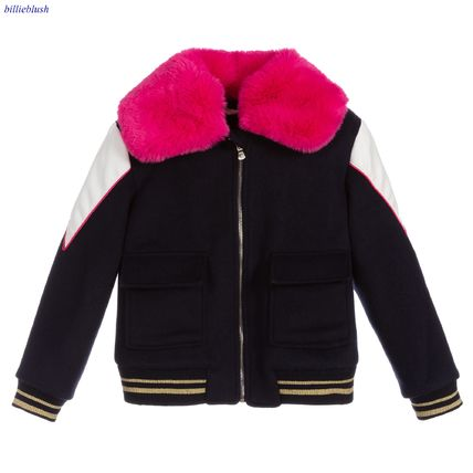 Blended Fabrics With Jewels Kids Girl Outerwear