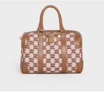 CELINE Triomphe Small Boston Bag In Textile With Triomphe Embroidery