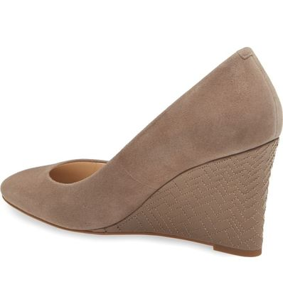 Cole Haan Plain Toe Suede Plain Elegant Style Wedge Pumps & Mules