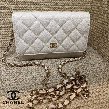 CHANEL ICON Calfskin 3WAY Chain Plain Crossbody Logo Shoulder Bags