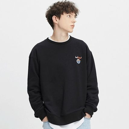 Street Style Long Sleeves Plain Cotton Logo Sweatshirts