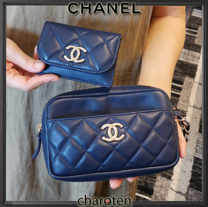 CHANEL MATELASSE Casual Style Lambskin 2WAY Chain Plain Leather Party Style