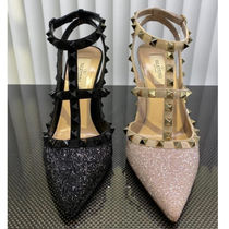 VALENTINO Suede Plain Pin Heels Party Style Elegant Style