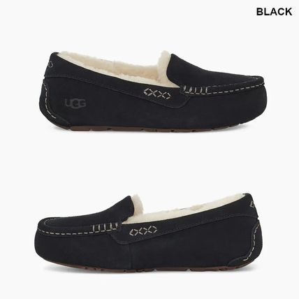 Moccasin Rubber Sole Casual Style Suede Plain Logo