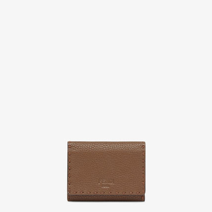 FENDI SELLERIA Plain Leather Logo Card Holders