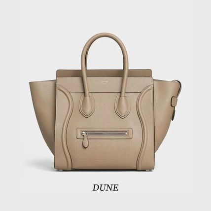 CELINE Luggage Casual Style Calfskin A4 Plain Leather Party Style