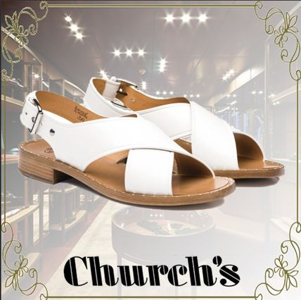 Open Toe Casual Style Plain Leather Logo Strap Sandals