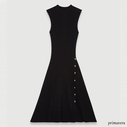 Casual Style A-line Sleeveless Plain Long Office Style