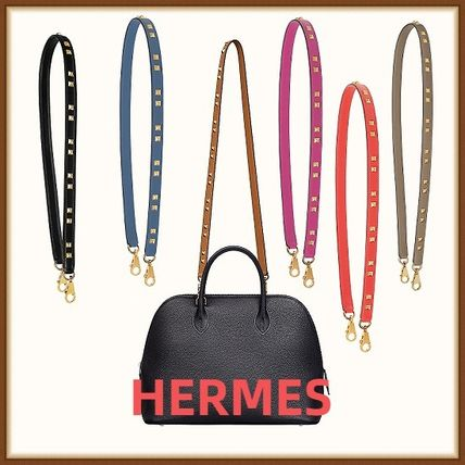 HERMES Casual Style Unisex Calfskin Studded Leather Office Style